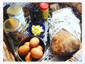Breakfast basket at Organic Origins in Hogsback
