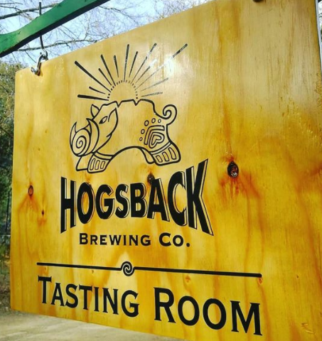 The tasting room in Hogsback's welcoming sign